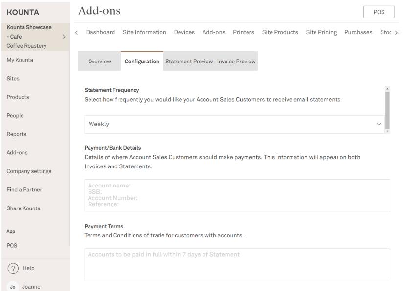 add on accounts kounta support
