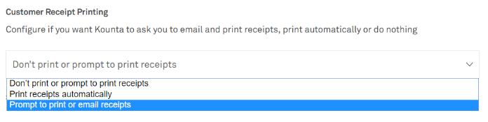 emailing customer receipts kounta support